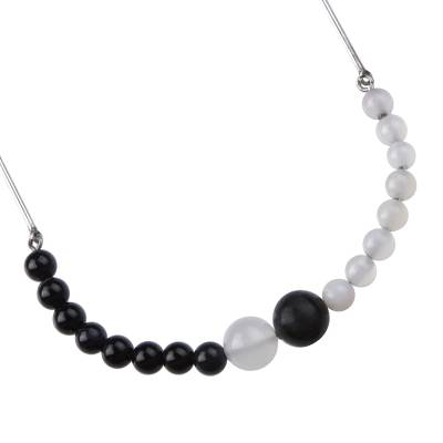 Black and White Agate and Sterling Silver Beaded Necklace