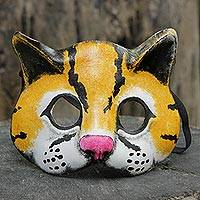 Leather mask, 'Jungle Jaguar' - Handcrafted Painted Leather Jaguar Mask from Brazil