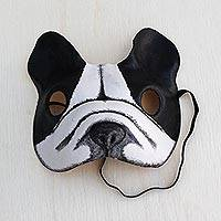 Leather mask, 'Bulldog' - Handcrafted Black and White Bulldog Face Mask from Brazil