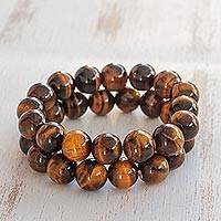 Tiger's eye beaded stretch bracelet, 'Celestial Meditation' (pair) - Pair of Tiger's Eye Beaded Stretch Bracelets from Brazil