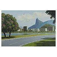 'Corcovado Seen from Flamengo Park' - Signed Realist Painting of a Mountain from Brazil