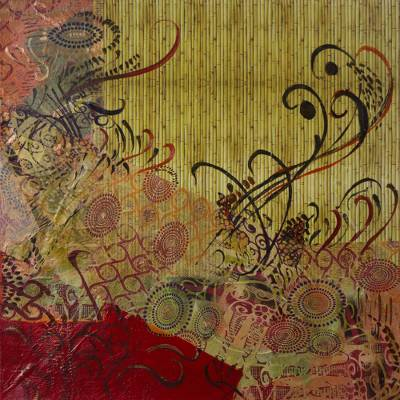 Mixed Media Modern Bamboo-Themed Painting from Brazil