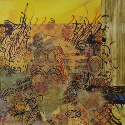 Signed Mixed Media Bamboo-Themed Painting from BRazil