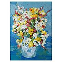 'Vase of Country Flowers' - Still Life Painting of a Colorful Flower Vase from Brazil