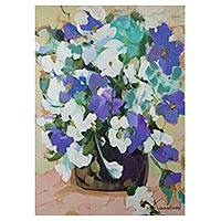 'Vase of Lilies' - Still Life Painting of Blue and White Flowers from Brazil
