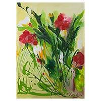 'Red Flowers' - Colorful Impressionist Painting of Flowers from Brazil