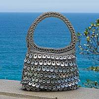 Recycled soda pop-top handle handbag, 'Dramatic Style in Silver' - Silver Recycled Soda Pop Top Handle Handbag from Brazil