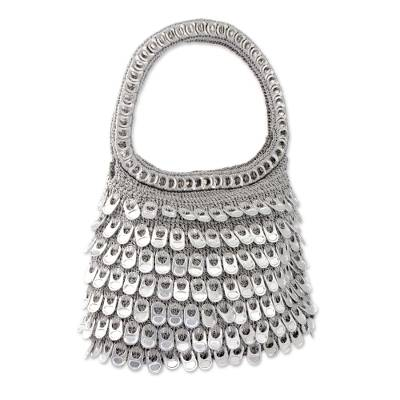 Silver Recycled Soda Pop Top Handle Handbag from Brazil