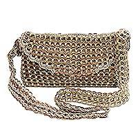Recycled soda pop-top sling bag, 'Golden Modernity' - Recycled Metallic Soda Pop Top Sling Bag from Brazil