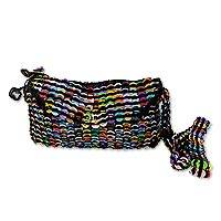 Soda pop-top sling bag, 'Colorful Creativity' - Multicolor Recycled Soda Pop Top Sling Bag from Brazil