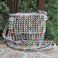Recycled soda pop-top shoulder bag, 'Joyful Creation in White' - Multicolor Recycled Soda Pop Top Shoulder Bag from Brazil