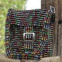 Recycled soda pop-top sling bag, 'Multicolor Chainmail Strength' - Multicolor Recycled Soda Pop Top Sling Bag from Brazil