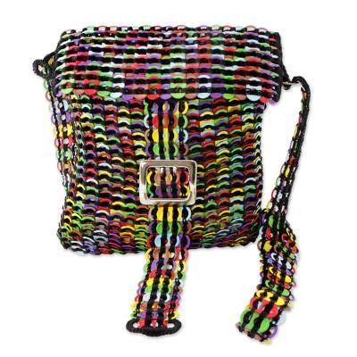 Multicolor Recycled Soda Pop Top Sling Bag from Brazil
