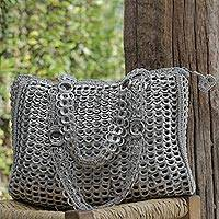 Recycled soda pop-top shoulder bag, 'Modern Spring in Silver' - Silver Recycled Soda Pop Top Shoulder Bag from Brazil