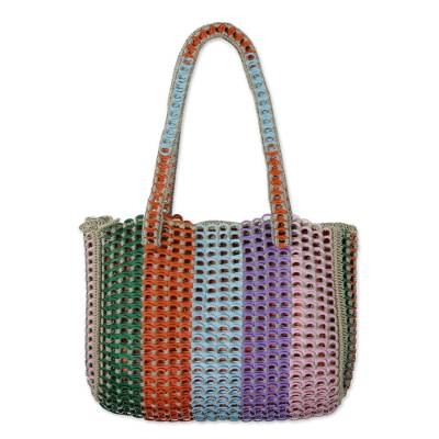 Multicolored Recycled Soda Pop Top Shoulder Bag from Brazil