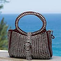 Recycled soda pop-top handle handbag, 'Powerful Beauty' - Silver and Red Recycled Soda Pop Top Handle Handbag