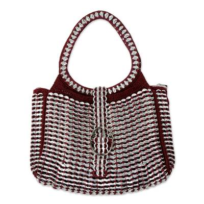 Silver and Red Recycled Soda Pop Top Handle Handbag