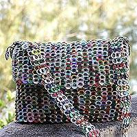 Recycled soda pop-top shoulder bag, 'City Colors' - Multicolor Recycled Soda Pop Top Shoulder Bag from Brazil