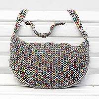Recycled soda pop-top shoulder bag, 'City Dreamer' - Multicolor Recycled Aluminum Shoulder Bag from Brazil