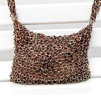 Soda pop-top sling, 'Shimmery Bronze' - Bronze-Tone Recycled Soda Pop-Top Handbag from Brazil