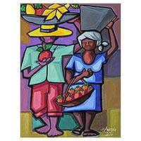 'Working Couple' - Cubist Style Painting of a Man and Woman in Jewel Colors