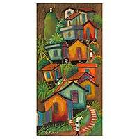 'Corcovado in the Background' - Colorful Brazilian Favela Painting on Cedar Wood