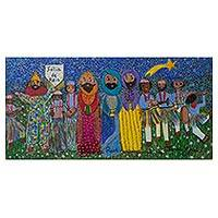 'Festival of Kings in Campininha' - Naif Painting of Festival of Kings from Brazil