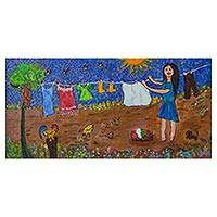 'Rural Scene' - Signed Naif Painting of a Village Woman from Brazil