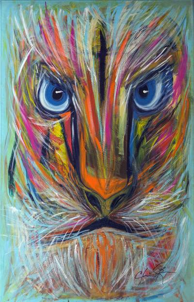 Signed 2016 Expressionist Painting of a Lion from Brazil