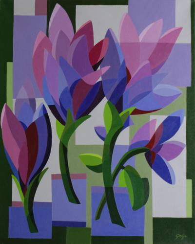 'Tulips' (2002) - Original Cubist Painting of a Tulip Bouquet from Brazil