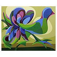 'Cutout Birds' (2004) - Multicolor Cubist Original Painting of Birds and Flowers