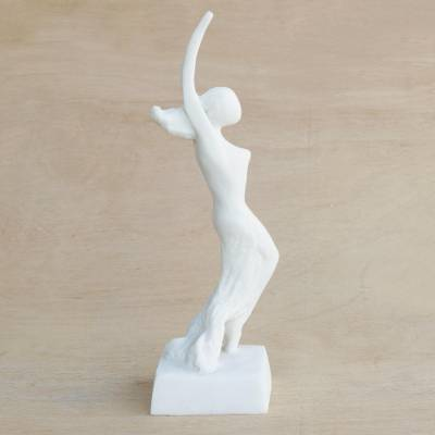 Marble resin sculpture, 'Erica' - Signed Marble Resin Sculpture of a Ballerina from Brazil