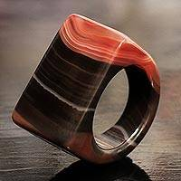 Agate cocktail ring, 'Space Dust' - Handcrafted Colorful Agate Cocktail Ring from Brazil