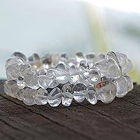 Quartz beaded bracelets, 'Translucent Drops' (pair) - Pair of Clear Beaded Quartz Bracelets from Brazil