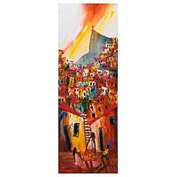 'Redeemer in Orange and Yellow' - Original Signed Painting of a Favela Neighborhood in Rio