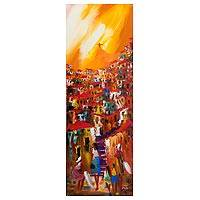 'Christ the Redeemer in Yellow' - Narrow Cityscape Canvas in Bright Colors from Brazil