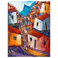 'Favela and Christ in Blue' - Signed Colorful Painting of a Rio de Janeiro Favela
