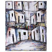 'Community Residents' - Signed Modern Painting of a City from Brazil