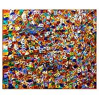 'Colorful Favela II' - Expressionist Rio de Janeiro Favela Painting in Jewel Colors