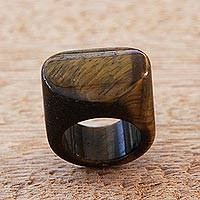 Tiger's eye signet ring, 'Earthen Oval' - Artisan Handcrafted Tiger's Eye Signet Ring from Brazil