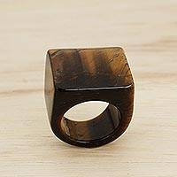Tiger's eye dome ring, 'Earthen Hill' - Artisan Handcrafted Tiger's Eye Dome Ring from Brazil