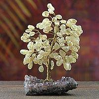 Citrine gemstone tree, 'Leafy Respite' - Citrine and Amethyst Gemstone Tree from Brazil