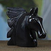 Dolomite sculpture, 'Fierce Horse' - Handcrafted Black Dolomite Horse Sculpture from Brazil