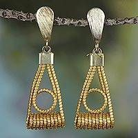 Gold accent golden grass dangle earrings, 'Gleaming Balance' - Gold Plated Golden Grass and Brass Dangle Earrings