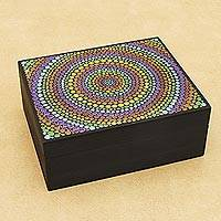Wood decorative box, 'Psychedelic Circles' - Hand-Painted Colorful Wood Decorative Box from Brazil