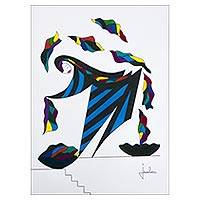 'Dancer' - Signed Multicolored Modern Painting from Brazil