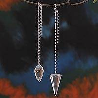 Quartz pendulums, 'Purifying Geometry' (pair) - 2 Crystal Quartz Pendulums on Brass Chains from Brazil