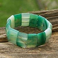 Agate beaded stretch bracelet,