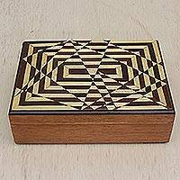 Wood jewelry box, 'Geometry Fragments' - Handcrafted Geometric Inlay Wood Jewelry Box from Brazil