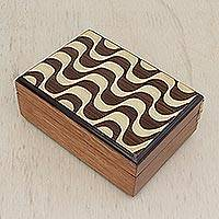 Wood jewelry box, 'Copacabana Crests' - Handcrafted Inlaid Wood Jewelry Box from Brazil